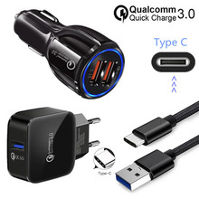 For Samsung galaxy A8 2018 S9 S10 Bluboo S3 S8 Plus Sony L1 XA1 PocoPhone F1 Type C USB Wire QC 3.0 Fast car charger adapter