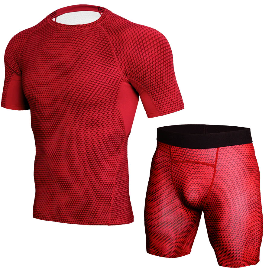 Image 5 - 2018 New Logo Custom Quick Dry Fitness Tight Running Set Gym Bodybuilding Sportswear Tank Shirt Shorts Men Tracksuit Sport Suit-in Running Sets from Sports & Entertainment on AliExpress