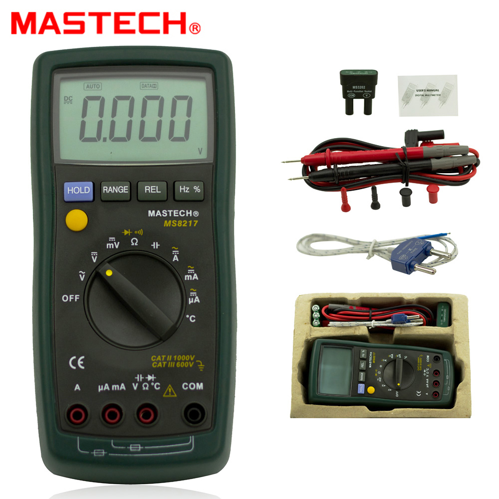 MASTECH MS8217 Digital Multimeter ACDC Voltage ACDC Current Resistance Capacitance Tester with Temperature Measurement