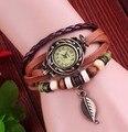 De alta Calidad de Cuero Genuino Reloj de La Vendimia pulsera de Las Mujeres Reloj de Pulsera D7553