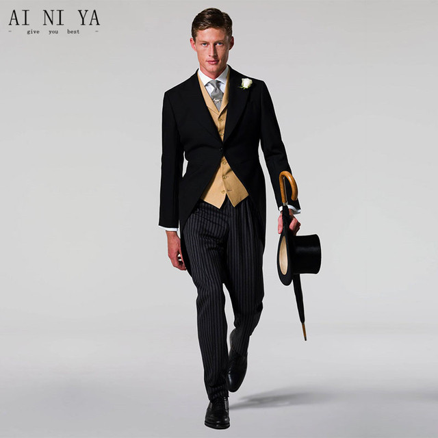 Black Jacket Gold Vest Stripe Pants Best Men Tailcoat Groomsman S Wedding Suits Prom Party 3