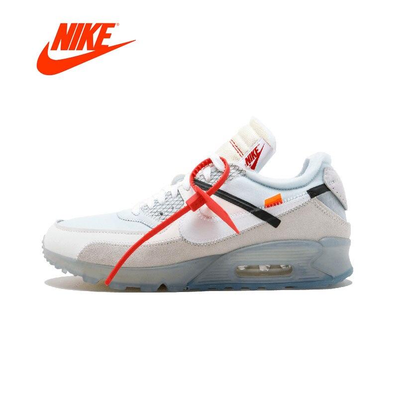 Novedad Original auténtico Nike Air Max 90 X OFF-WHITE OW hombres transpirables zapatillas deportivas al aire libre AA7293-100