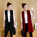 Autumn New Fashion Long Vest Pockets Turn-down collar Open Stitch Sleeveless Solid Color Red Black Blazer Vest Jackets