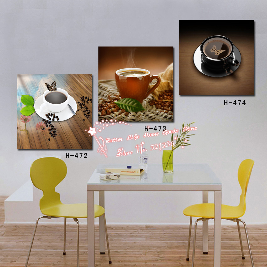 Set Of 3 Coffee Cup Canvas Wraps: Modern Wall Art Home Decoration Printed Oil Painting