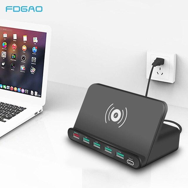 10 Вт QI Беспроводной Зарядное устройство 6 USB зарядка Док станция с функцией быстрой зарядки 3,0 мобильный телефон планшет быстрой зарядки Настольный Мощность адаптер розеток