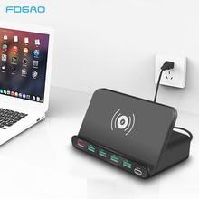 10W QI מטען אלחוטי 6 USB Dock תחנת טעינה מהירה 3.0 נייד טלפון Tablet מהיר טעינה שולחני כוח מתאם רצועת שקע