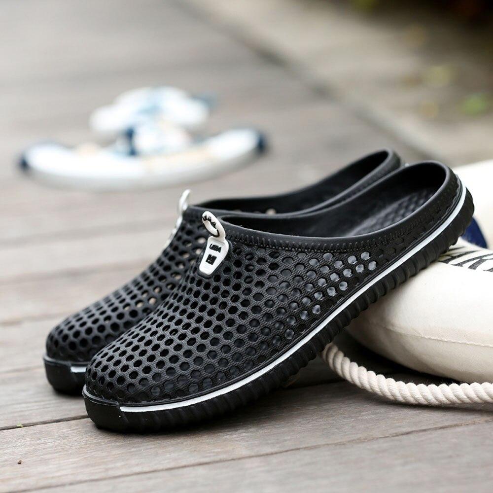 2018 hombres zapatos playa Casual hombres zapatillas Unisex ahueca hacia fuera Casual pareja playa sandalia Flip Flops zapatos deslizadores