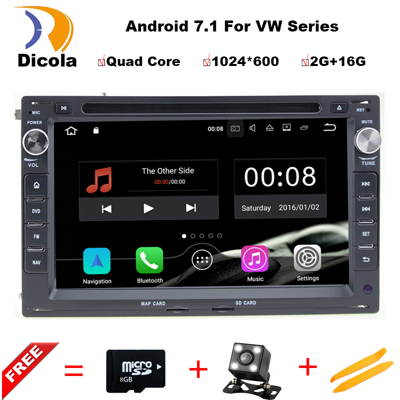 Quad Core Android 7.1.1 Car DVD GPS Radio For Old VW Transporter T4/T5 Bora Passat Mk5 Golf Mk4 Polo Jetta Peugeot 307 1998-2008