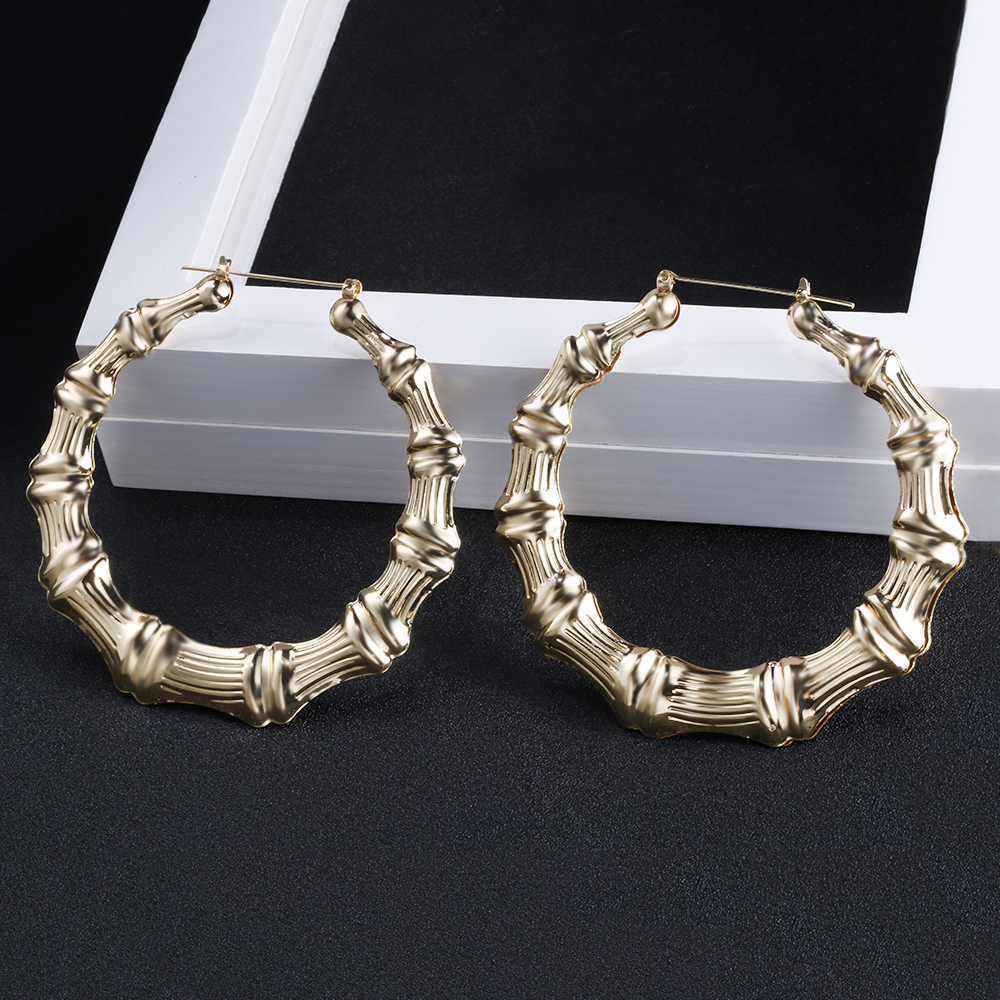 2019 Trendy Bamboo Hoop Earrings Women Female Gold Silver Color Color Classic Jewelry 3