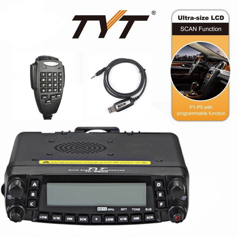 Newest  Version Quad Band 800 CHS 50W Cross Band Detachable Panel TYT TH-9800 Plus With Programming Cable Software