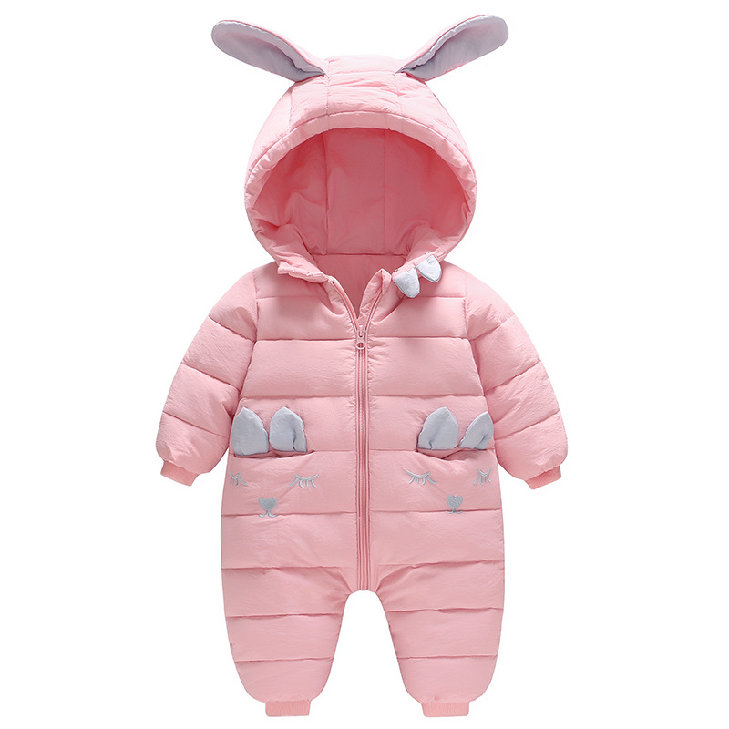 Winter 2018 Thickened Bunny New Born Baby Outside Snow Wear Baby Girls Clothes New Pink Clip Cotton Jumpsuit Crawl SuitWinter 2018 Thickened Bunny New Born Baby Outside Snow Wear Baby Girls Clothes New Pink Clip Cotton Jumpsuit Crawl Suit