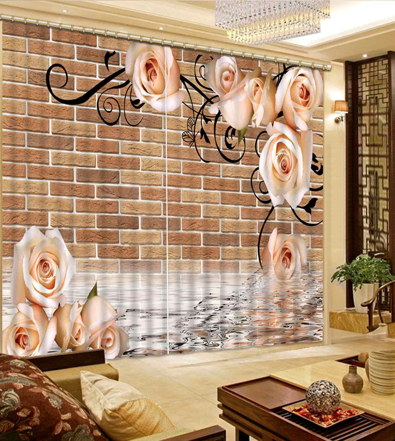 Customized size Luxury Blackout 3D Window Curtains For Living Room brick curtains modern curtain