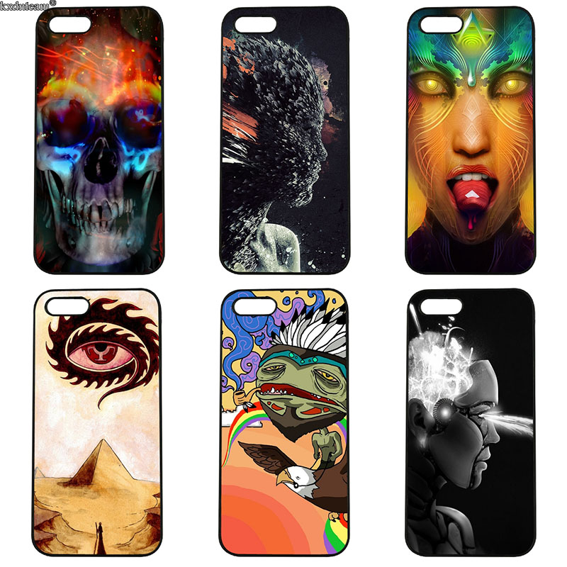 Psychedelic Nature Art Mobile Phone Case Hard PC Plastic Cover for iphone 8 7 6 6S Plus X 5S 5C 5 SE 4 4S iPod Touch 4 5 6 Shell