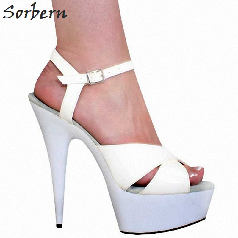 Sorbern Women Summer Shoes And Sandals Custom Made Color Ankle Strap Open Toe Size 8 Platform High Heels Fashion Sandalias 15CmSorbern Women Summer Shoes And Sandals Custom Made Color Ankle Strap Open Toe Size 8 Platform High Heels Fashion Sandalias 15Cm