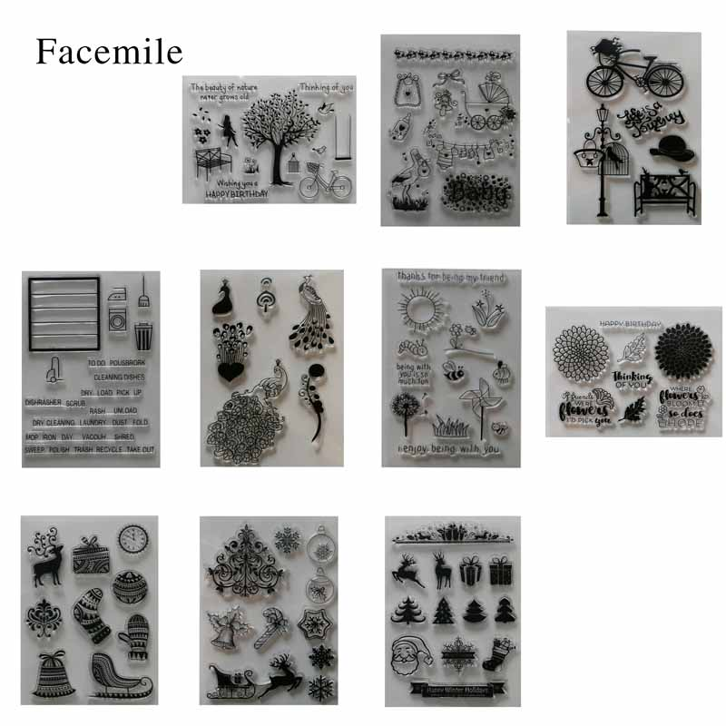 gift 1PCS Different Stamp Design Clear Rubber Stamp For DIY Card Decoration Scrapbooking lovely animals and ballon design transparent clear silicone stamp for diy scrapbooking photo album clear stamp cl 278