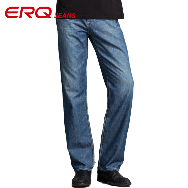 ERQ Men Mid-Waist Jeans Loose Cargo Pants Elastic Relaxed Jeans Straight Fit Stetch Big Yards Trousers Denim taper jeans 901175 2016 men jeans denim zipper fly cargo pants softener mid cotton shorts lightweight print brand new loose yellow green