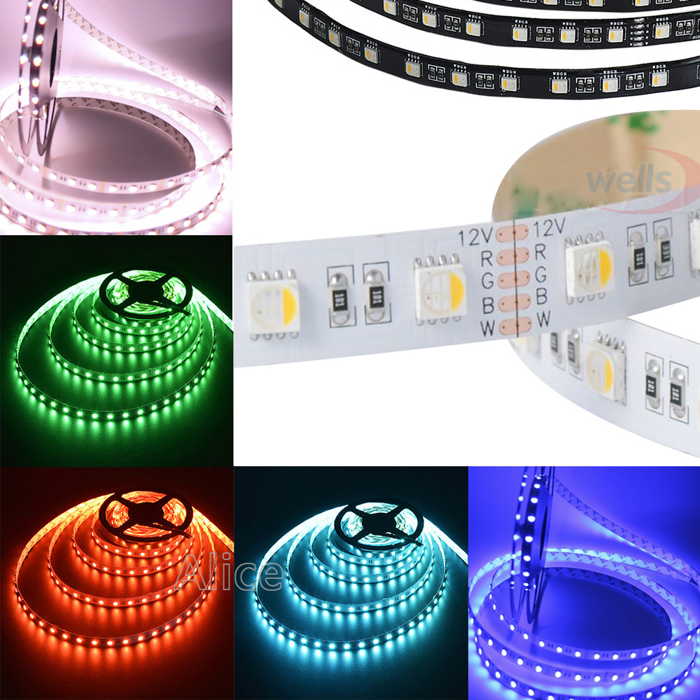5 Mt/los DC12V <font><b>RGBW</b></font>/RGBWW 4 farbe in 1 <font><b>led</b></font> chip 60Leds/m 300leds Wasserdicht IP30/65/IP67 5050 SMD flexible <font><b>LED</b></font> Streifen licht image
