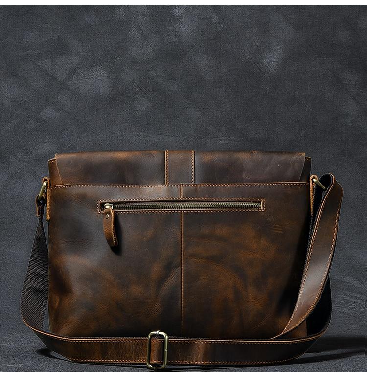 Luxury Leather Courier Bag back zip pocket