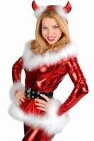 Low Cut weihnachten kostüm sexy santa claus Punky 4 STÜCK Fluffy Santa Girl Kostüm in Red hot sexy frauen weihnachten kostüme