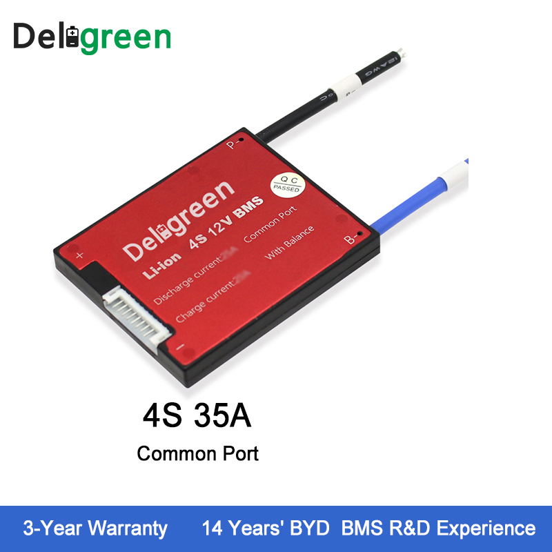 Deligreen 4S 35A 12V 4S BMS for lithium ion battery pack LiFePO4 18650 rechargeable battery with balance function стоимость