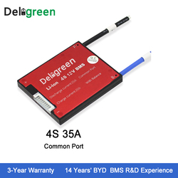 Deligreen 4S 35A 12V 4S BMS for lithium ion battery pack LiFePO4 18650 rechargeable battery with balance function