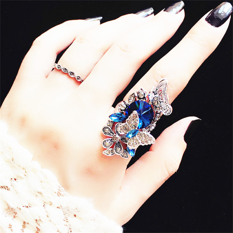 2 PCS / Lot Vintage Big Statement Butterfly Ring Set Women Bijoux Նորաձևության զարդեր մեծածախ Cute Cute Gift Blue Purple Colors