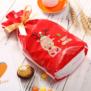 Image 5 - 5pcs Red Plastic Candy Bags Christmas Elk Candy Sweet Treat Bags Xmas Festival Gifts Holders Bake Biscuit Cookies Packaging Bags