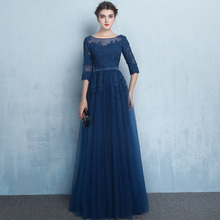 Elegant Half Sleeves Mother Of The Bride Dress 2017 A-line Floor-Length Luxury Navy BLue Plus Size Women Wedding Party Evening