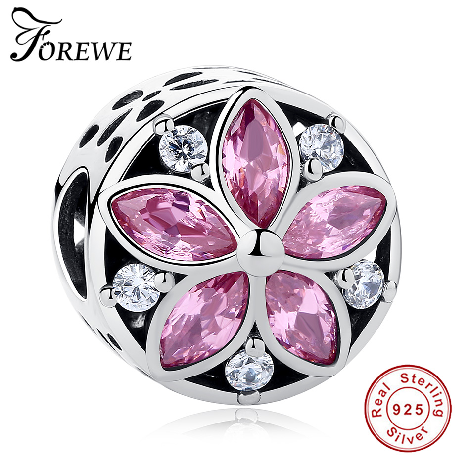 925 Sterling Silver Charms Pink Crystal Promise Flower Beads With Clear CZ Fit Original Pandora Charm Bracelet Women DIY Jewelry