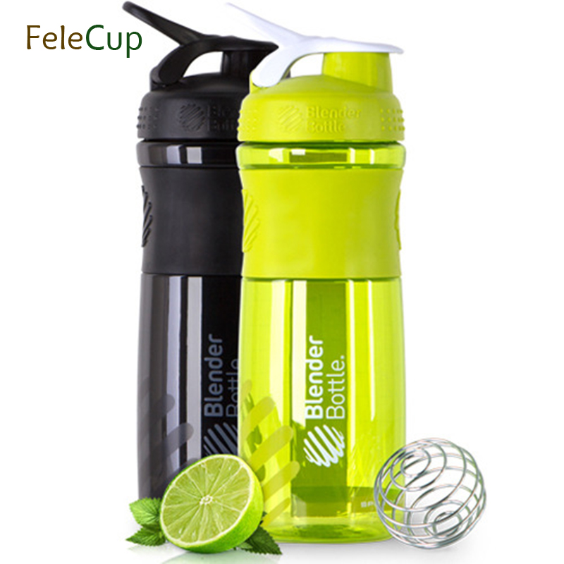 FeleCup Shaker Bottle Water Bottle Sport Whey Protein Powder Shaker Drinkware Fitness Ru ...