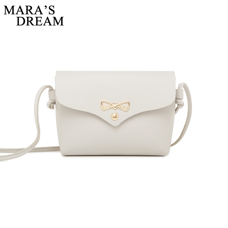 Mara's Dream 2018 Women Shoulder Bag Simple Metal Bowknot Decorative Button Solid HandBag Woman PU Mini Messenger Crossbody Bag