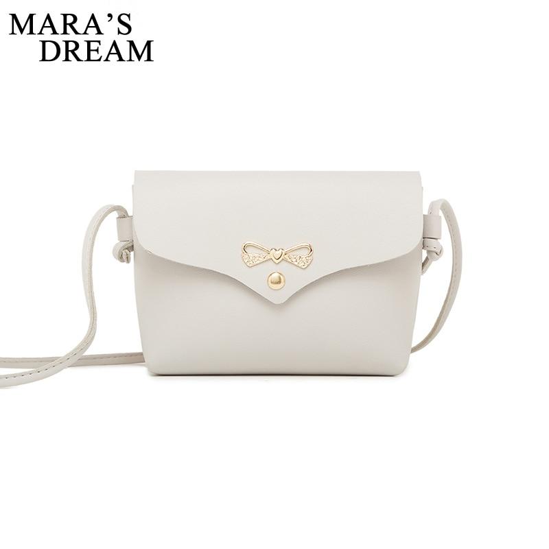 Mara's Dream 2018 Women Shoulder Bag Simple Metal Bowknot Decorative Button Solid HandBag Woman PU Mini Messenger Crossbody Bag