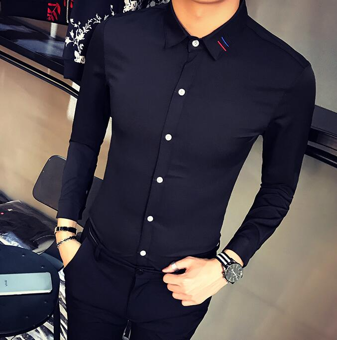 Tuxedo Shirts Orderly S-5xl Hot 2019 Summer Mens New Fashion Stitching Self-cultivation Hair Stylist Nightclub Long-sleeved Shirt Collar Decoration