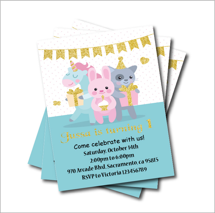 Feesten Speciale Gelegenheden 5th Birthday Invites 20 PERSONALISED Unicorn Design A5 Size Laser Printed