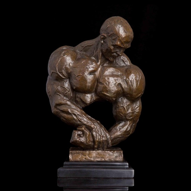 ATLIE BRONZES Modern Art Muscle Men Sculpture Sexy Female Bust Statues and Figurines for Fitness Centre Decoration