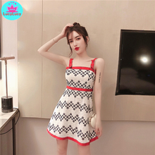 2019 Korean women's summer sexy contrast color tight-fitting printed lace strap dress Lace  Sleeveless  Knee-Length contrast color full length dress