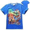 4 peças/lote Mundo Jurássico dinossauros projeto dos desenhos animados de algodão camiseta meninos roupas crianças roupa dos miúdos do bebê meninos encabeça a camisa de t