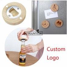 100 개/몫 DIY 나무 라운드 모양 오프너 코스터 냉장고 자석 장식 맥주 병 오프너 사용자 정의 로고