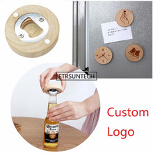 100Pcs/lot DIY Wooden Round Shape Bottle Opener Coaster Fridge Magnet Decoration Beer Bottle Opener Custom logo