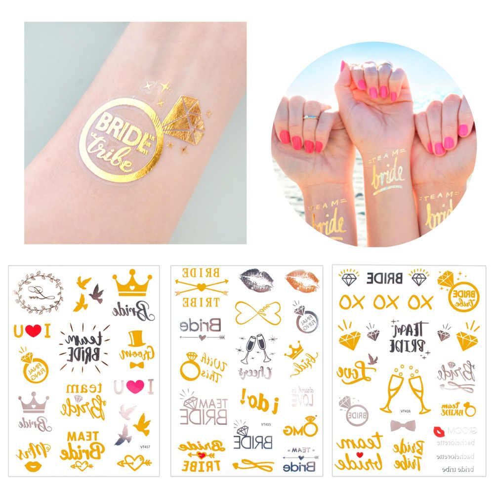 FENGRISE Team Bride To Be Bachelorette Pary Bridal Shower Wedding Party Decoration Bride Hen Party Accessories Tattoo Stickers