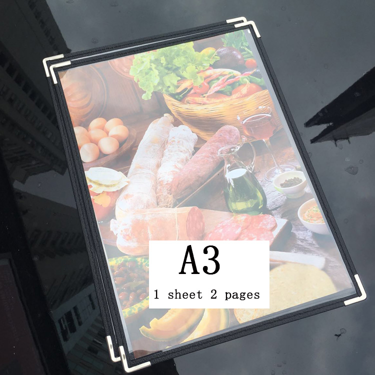 A3 Single Sheet Pvc Plastic Menu Cover