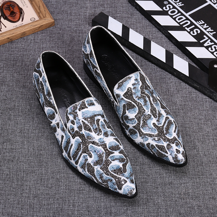 New arrival high fashion sequined oxfords slip on real leather flat shoes men top quality stage shoe party shoe dress shoe big46 2016 new arrival top quality men s slip on basic oxfords real cowhide leather formal wedding dress shoes men sapato masculino 46