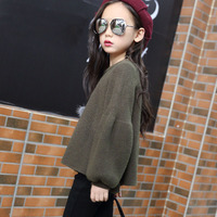 Knitting Little Big Girls Sweaters 2017 Autumn Spring Loose Green Knitted Sweaters For Girls Long Sleeve