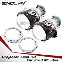 Sinolyn lentille de projecteur pour Ford Mondeo Mk4 Hella 3R G5 avec cadre, lentille phare Bi au xénon, utilisation ampoule HID D2S D1S D3S D4S LED