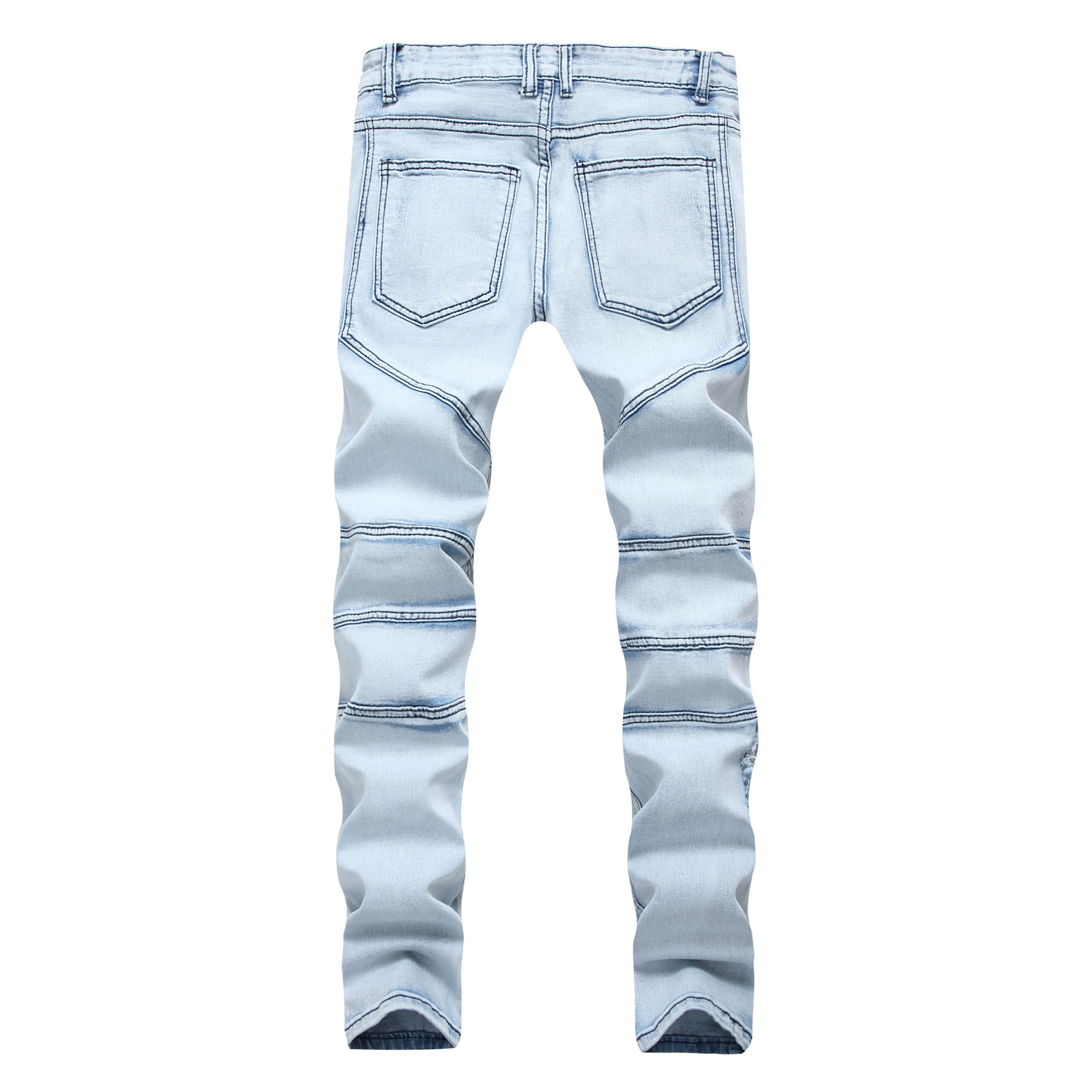 New 2018 Men fight a hole in cross- supply of blue denim jeans explosion slim mens trousers