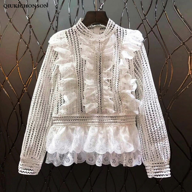Hollow out lace peplum top women ruffle blouse shirts long sleeve white blouse female Autumn winter tops office ladies