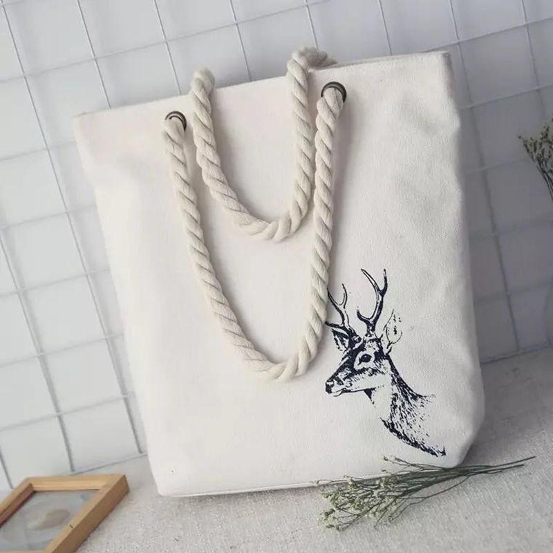 Fashion Casual Women Print Large Capacity Tote Canvas Shoulder Bag Shopping Beach Bags Feminina