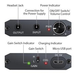 Image 2 - PROZOR Earphone Amplifier 2 Stage Gain Switch Enhance Function Aux In Portable HIFI Amplifier Audio in Headphone out for iPhone