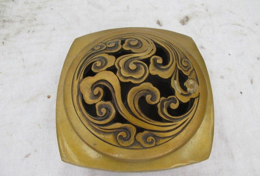 China Bronze Copper Clouds Veins Buddhism Hall Incense Burner Censer A 0518