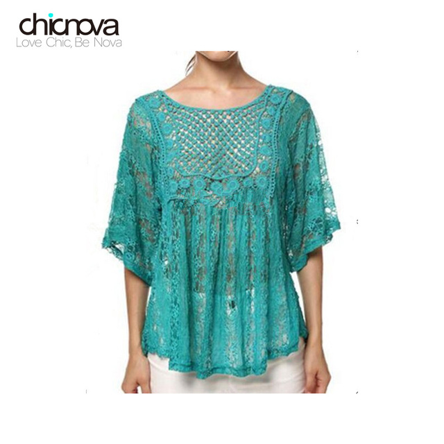 df1748754e big size women clothes sexy Lace Crochet tops bat sleeve lace blouse lady s half  sleeve O-neck shirt FS0038